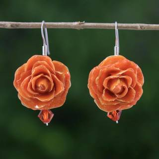 Handmade Natural Rose 'Floral Temptation in Orange' Earrings (Thailand)