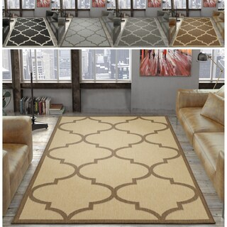 "Ottomanson Jardin Morroccan Trellis Indoor/Outdoor Jute Backing Runner Rug - 5'3"" x 7'3"""