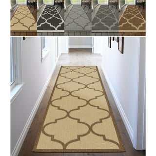 Ottomanson Jardin Morroccan Trellis Indoor/Outdoor Jute Backing Runner Rug (3' X 7')