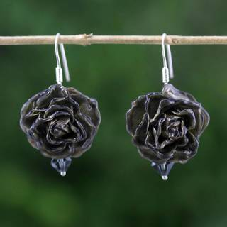 Handmade Natural Rose 'Floral Temptation in Black' Earrings (Thailand)