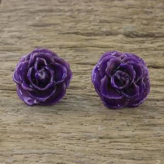 Handmade Natural Rose 'Flowering Passion in Purple' Earrings (Thailand)