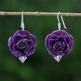 Handmade Natural Rose 'Floral Temptation in Purple' Earrings (Thailand)