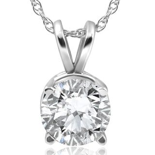 Pompeii3 14k White Gold 2 ct TDW Solitaire Diamond Clarity Enhanced Pendant