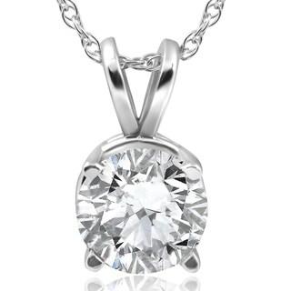 Bliss 14k White Gold 2 ct TDW Solitaire Diamond Clarity Enhanced Pendant
