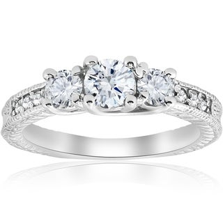 Bliss 14K White Gold 1 ct TDW Diamond Three Stone Vintage Engagement Ring (I-J/I2-I3)