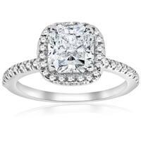Bliss 14K White Gold 2 1/3 ct TDW Cushion Halo Diamond Clarity Enhanced Engagement Ring