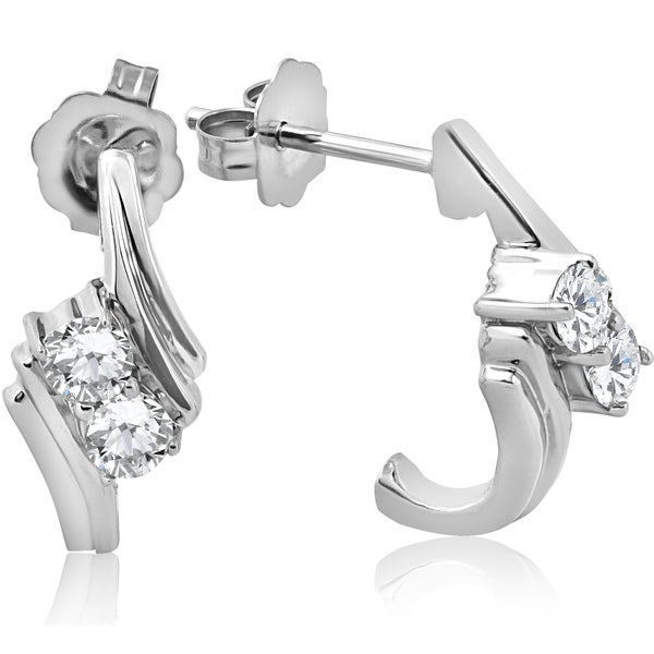 Bliss 14k White Gold 1 3 Ct Tdw Two Stone Diamond Studs Womens Earrings