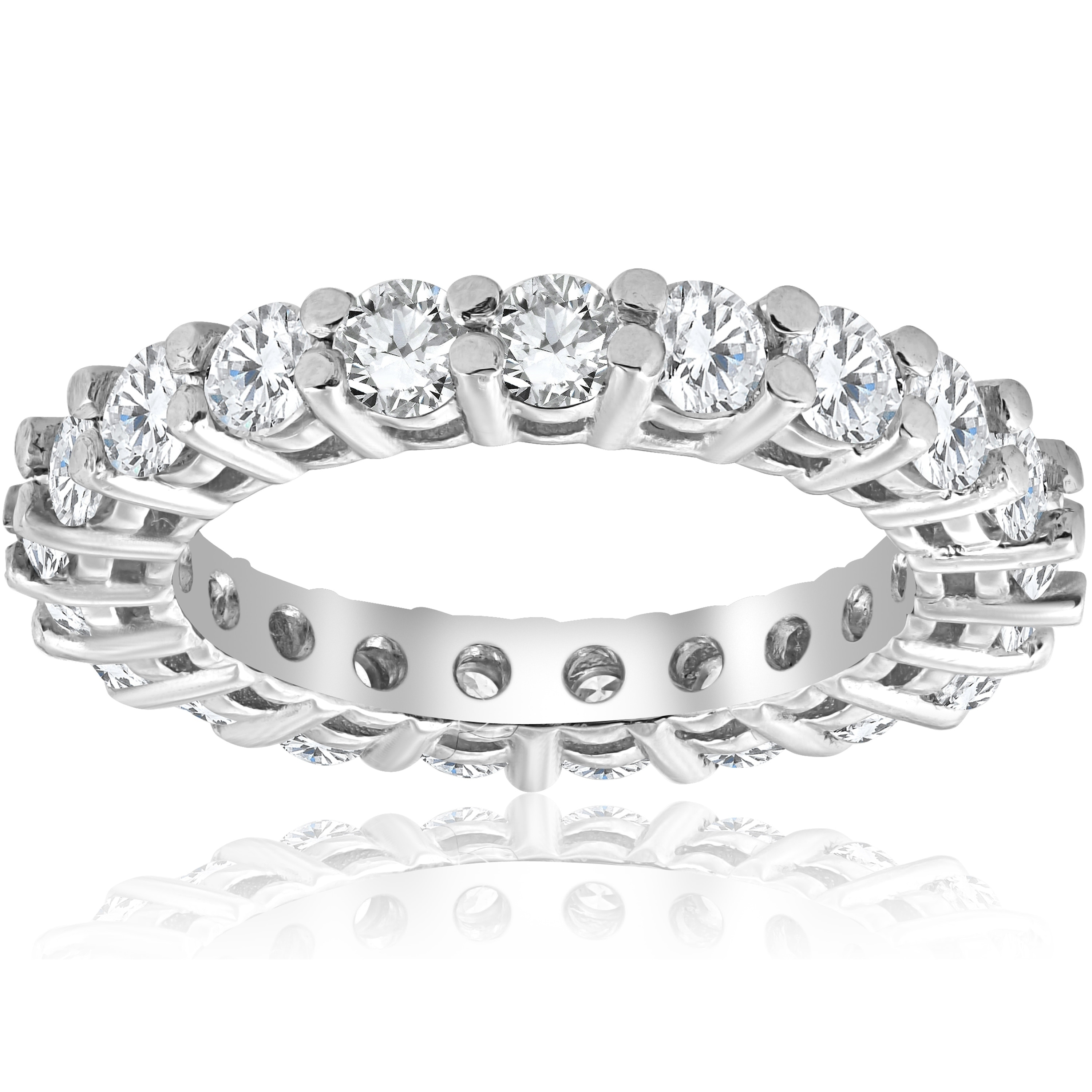9bc719683fc335 Shop Pompeii3 2 3/8 cttw 14K White Gold Round Shared Prong Diamond Eternity  Ring - White H-I - On Sale - Free Shipping Today - Overstock - 19583629