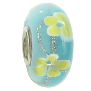 Sterling Silver Murano Flower Blue Turquoise Gold Glass Bead Charm