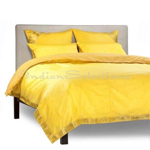 Yellow - 5 Piece Handmade Sari Duvet Cover Set with Pillow Covers / Euro Sham