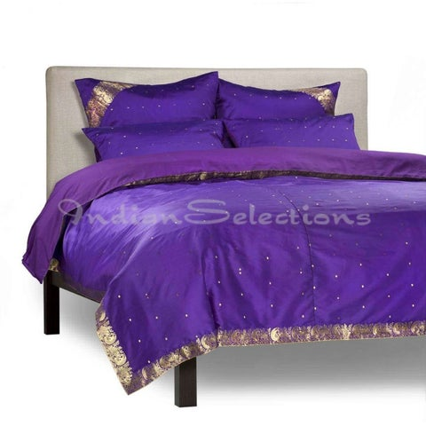 Purple - 5 Piece Handmade Sari Duvet Cover Set with Pillow Covers / Euro Sham