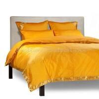 Handmade Sari Pumpkin 5-Piece Duvet Cover Set with Pillow Covers/Euro Sham