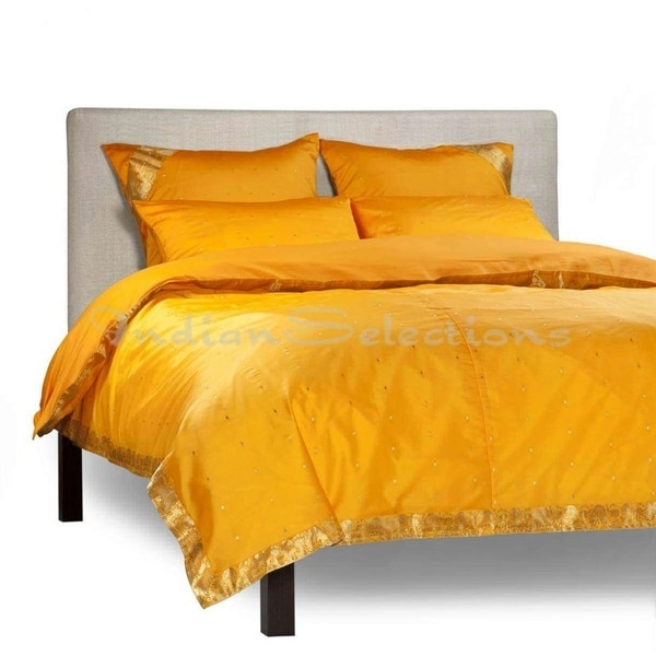 Pumpkin - 5 Piece Handmade Sari Duvet Cover Set with Pillow Covers / Euro Sham