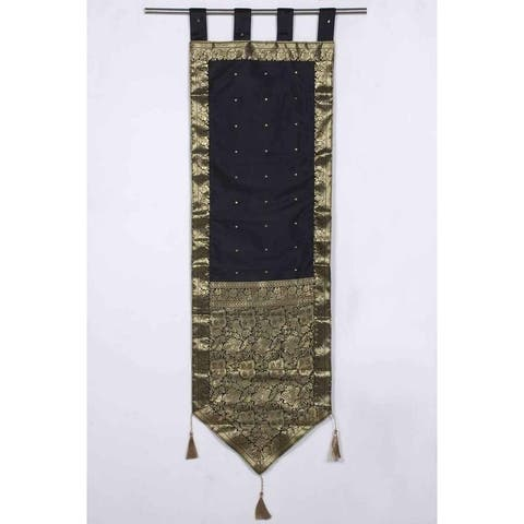 Black - Handmade Wall hanging Wall decor Tapestry with Tassels