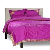 Violet Red-5 Piece Handmade Sari Duvet Cover Set with Pillow Covers / Euro Sham