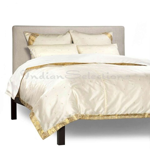 Cream - 5 Piece Handmade Sari Duvet Cover Set with Pillow Covers / Euro Sham