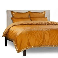Mustard - 5 Piece Handmade Sari Duvet Cover Set with Pillow Covers / Euro Sham