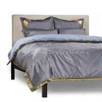 Gray - 5 Piece Handmade Sari Duvet Cover Set with Pillow Covers / Euro Sham