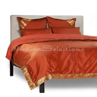 Rust - 5 Piece Handmade Sari Duvet Cover Set with Pillow Covers / Euro Sham