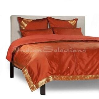 Rust - 5 Piece Handmade Sari Duvet Cover Set with Pillow Covers / Euro Sham
