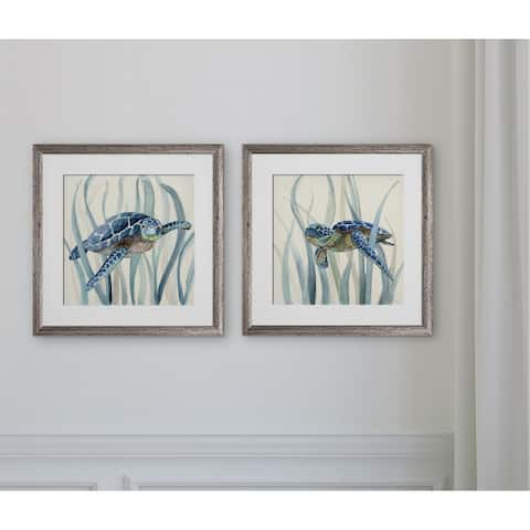 Turtle in Seagrass I -2 Piece Set