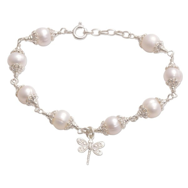 Sterling Silver White Freshwater Cultured Pearl Dragonfly Chain Slide