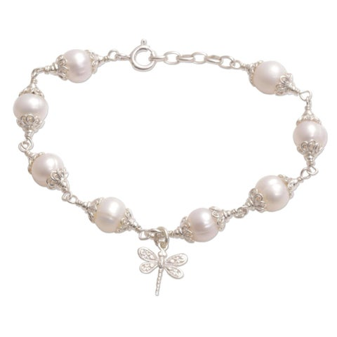 Handmade Sterling Silver 'Moonlight Dragonfly' Cultured Pearl Bracelet (8 mm) (Indonesia) - White