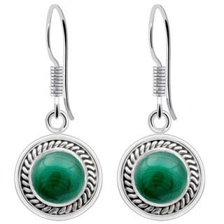 Orchid Jewelry 2.40 Carat Malachite Gemstone Sterling Silver Earrings