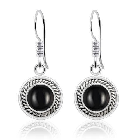 Orchid Jewelry Sterling Silver 2.2 Ctw Genuine Black Onyx Dangle Earrings For Ladies