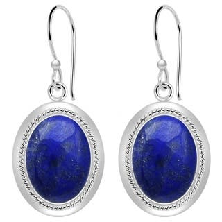 Orchid Jewelry 925 Sterling Silver 14 00 Carat Lapis Lazuli Cabochon Earrings