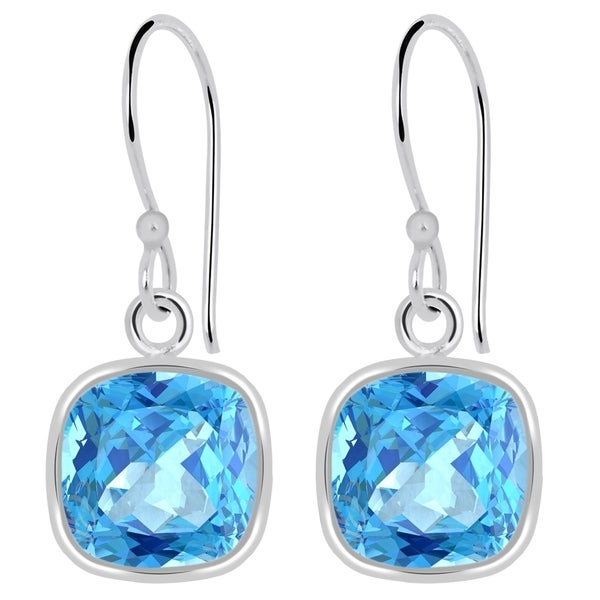 Orchid Jewelry 3 40 Carat Blue Topaz Cushion Cut Birthstone Earrings