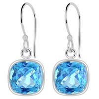 Orchid Jewelry 3.40 Carat Blue Topaz Cushion-cut Birthstone Earrings