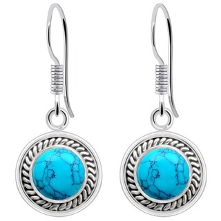 Orchid Jewelry 925 Sterling Silver 2.00ct Turquoise Gemstone Dangle Earrings