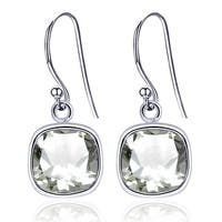 Orchid Jewelry Sterling Silver 3.00 Ct Cushion Cut Green Amethyst Simple Dangle Earrings