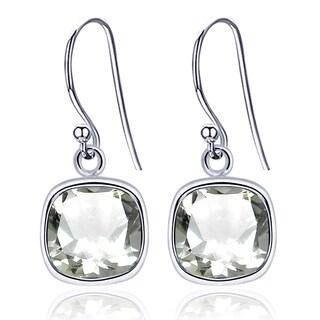 Orchid Jewelry 925 Sterling Silver 3.00 Ct Cushion Cut Green Amethyst Earrings