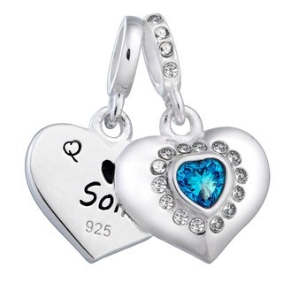 Qina C. Sterling Silver Mom & Son Love Blue CZ European Bead Charm