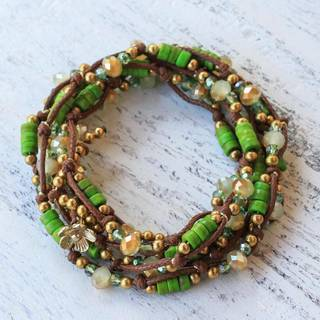 Handmade Brass 'Forest Party' Calcite Bracelet (Thailand)
