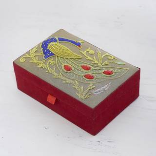 Handmade Cotton 'Dignified Peacock' Jewelry Box (India)
