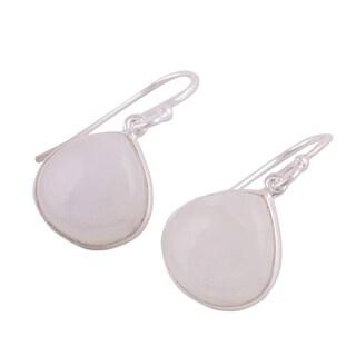 Handmade Sterling Silver 'Dancing Soul' Rainbow Moonstone Earrings (India)
