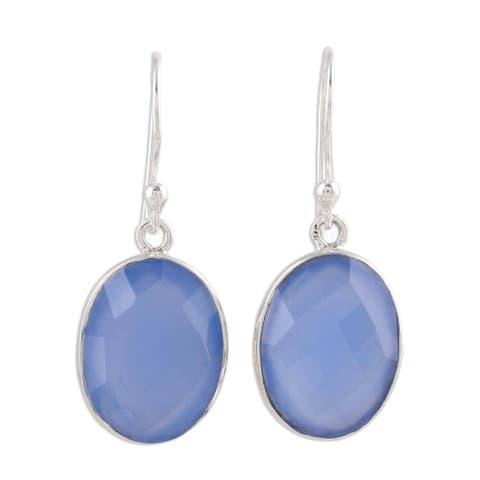 Handmade Sterling Silver Blue Serenity Chalcedony Earrings (India)
