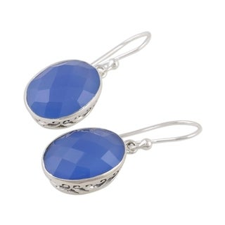 Handmade Sterling Silver 'Blue Serenity' Chalcedony Earrings (India)