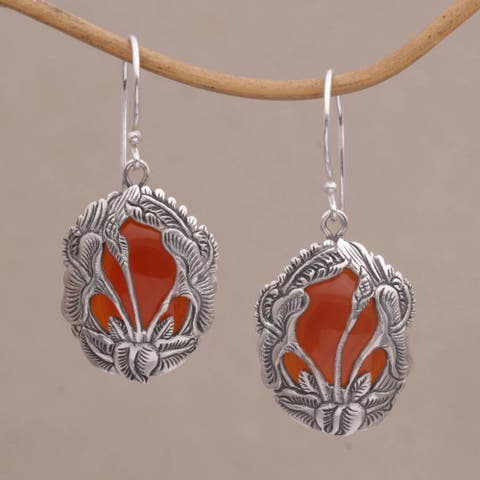 Handmade Sterling Silver 'Floral Plains' Carnelian Earrings (Indonesia)