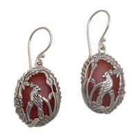 Handmade Sterling Silver 'Cockatoo Garden' Carnelian Earrings (Indonesia)