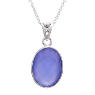 Handmade Sterling Silver 'Blue Serenity' Chalcedony Necklace (India)