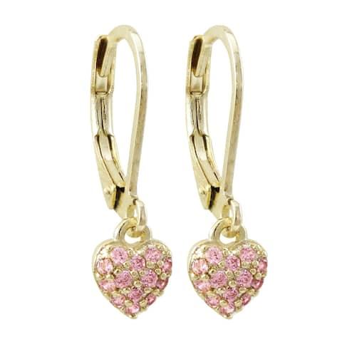 Luxiro Gold Finish Pink Cubic Zirconia Dangling Hearts Children's Earrings