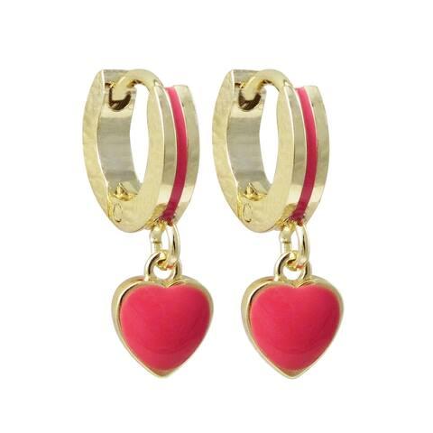 Luxiro Gold Finish Dangling Enamel Heart Children's Huggie Earrings