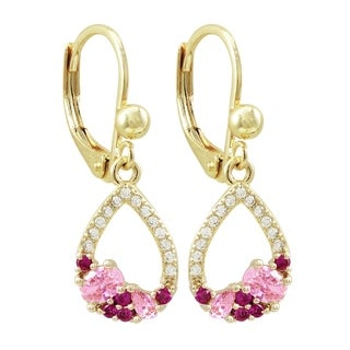 Luxiro Gold Finish Lab-created Ruby Gemstones Children's Open Teardrop Earring