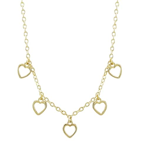 """Luxiro Gold Finish Dangling Open Hearts Children's Necklace, 14""""+2"""" Extender"""