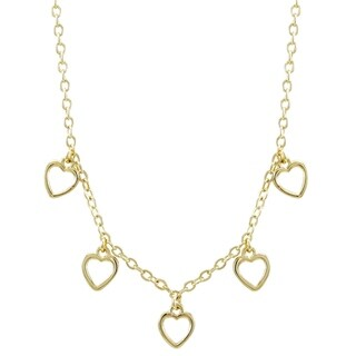 "Luxiro Gold Finish Dangling Open Hearts Children's Necklace, 14""+2"" Extender"