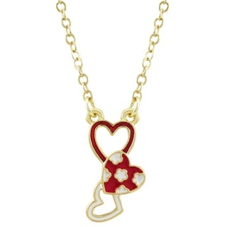 """Luxiro Gold Finish Red and White Enamel Finish Open Hearts Children's Necklace, 13""""+ 2"""" Extender"""